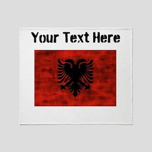 Distressed Albania Flag (Custom) Throw Blanket