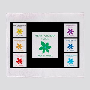 All Is Well Chakra Flower B Throw Blanket