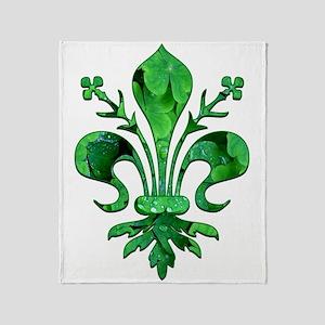 Irish Green Fleur de lis Throw Blanket