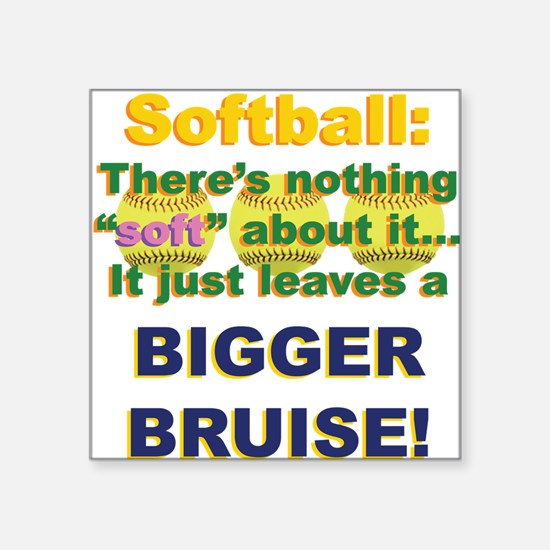 "Cute Softball girl Square Sticker 3"" x 3"""