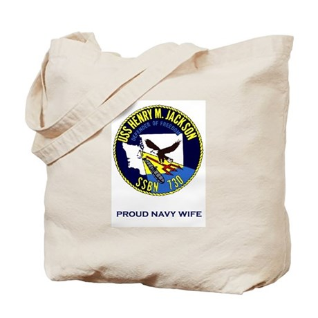 HMJ Logo Proud Navy Wife Tote Bag