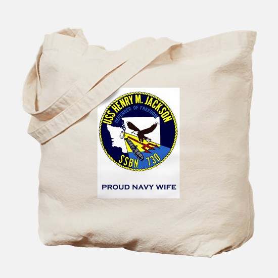HMJ Logo Proud Navy Wife Tote Bag