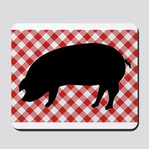 Black Pig Silhouette on Red and White Gi Mousepad