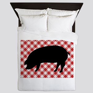 Black Pig Silhouette on Red and White Queen Duvet