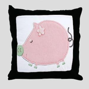 Little Round Pink Piggy Throw Pillow