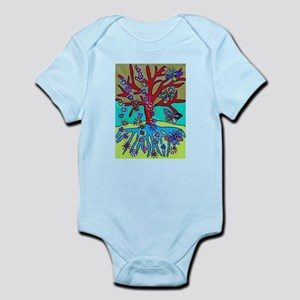 Red Tree Of Life Falling Hearts Growth Body Suit