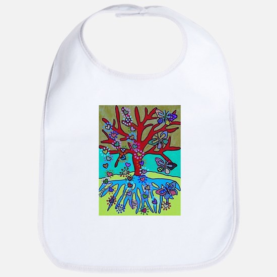 Red Tree Of Life Falling Hearts Growth Of But Bib