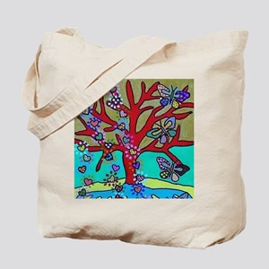 Red Tree Of Life Falling Hearts Growth O Tote Bag