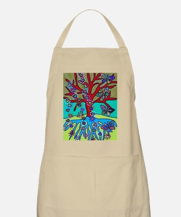 Red Tree Of Life Falling Hearts Growth Of B Apron