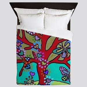 Red Tree Of Life Falling Hearts Growt Queen Duvet
