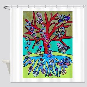 Red Tree Of Life Falling Hearts Gr Shower Curtain
