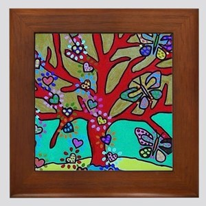 Red Tree Of Life Falling Hearts Growt Framed Tile