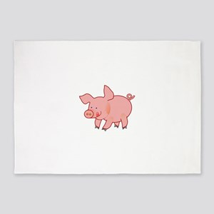 Cute Little Pig Licking His Chops - 5'x7'Area Rug