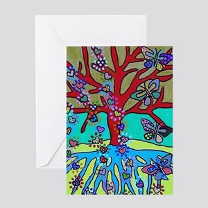 Red Tree Of Life Falling Hearts Gr Greeting Cards