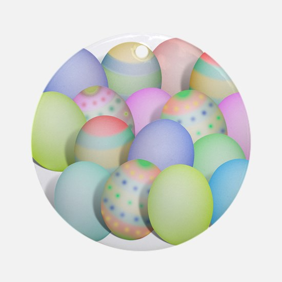 Pastel Colored Easter Eggs Ornament (Round)