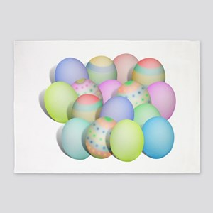 Pastel Colored Easter Eggs 5'x7'Area Rug