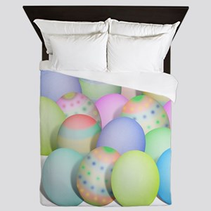 Pastel Colored Easter Eggs Queen Duvet