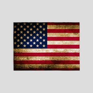 Vintage Fade American Flag 5 X7 Area Rug