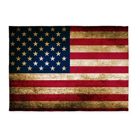 Vintage Fade American Flag 5 X7 Area Rug By Admin Cp3217356