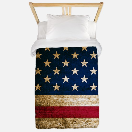 Vintage Fade American Flag Twin Duvet