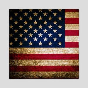 Vintage Fade American Flag Queen Duvet