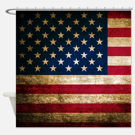 Vintage Fade American Flag Shower Curtain