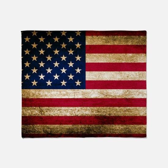Vintage Fade American Flag Throw Blanket