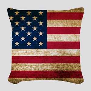Vintage Fade American Flag Woven Throw Pillow
