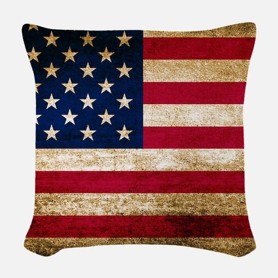 Vintage Fade American Flag Woven Throw Pillow