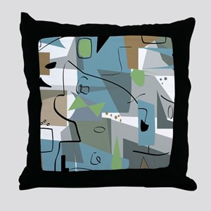 Mid-Century Modern Abstract Throw Pillow