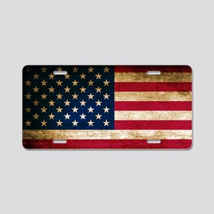 Vintage Fade American Flag Aluminum License Plate