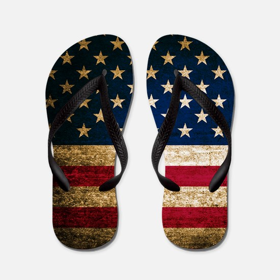 Vintage Fade American Flag Flip Flops