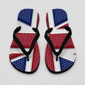 Union Jack Metal Look Flip Flops