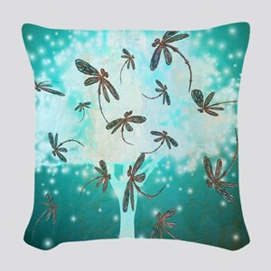 Dragonfly Glow Tree Woven Throw Pillow