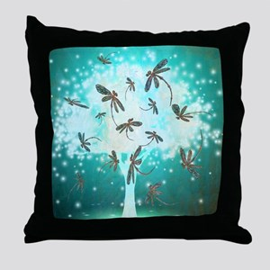 Dragonfly Glow Tree Throw Pillow