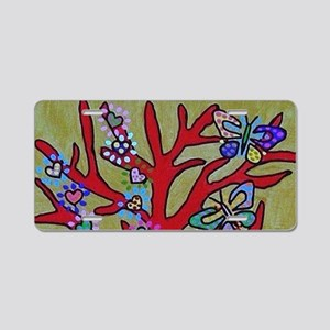 Red Tree Of Life Falling He Aluminum License Plate
