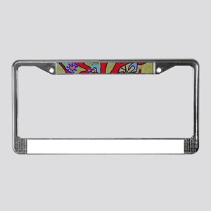 Red Tree Of Life Falling Heart License Plate Frame