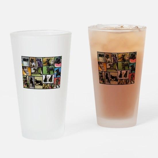 Black Schnauzer Collage Drinking Glass