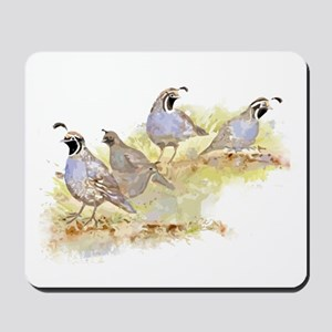 Covey of California Quail Birds Mousepad