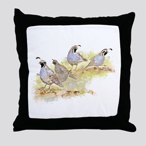 Covey of California Quail Birds Throw Pillow