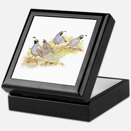 Covey Of California Quail Birds Keepsake Box