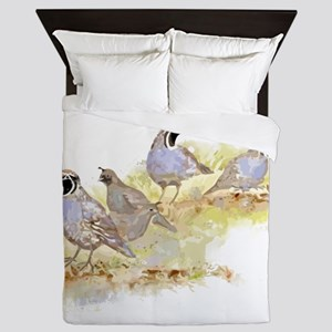 Covey of California Quail Birds Queen Duvet