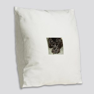 atticussquareface Burlap Throw Pillow