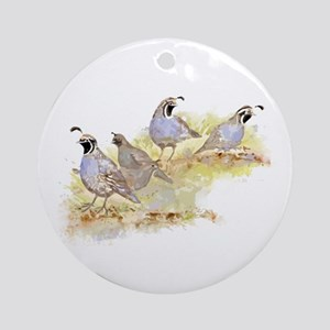 Covey of California Quail Birds Ornament (Round)