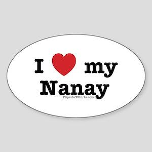 I Love My Nanay Oval Sticker