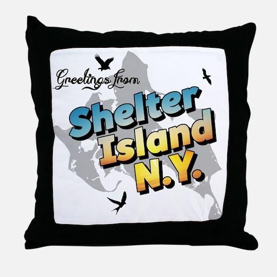 Shelter Island New York NY Long Islan Throw Pillow