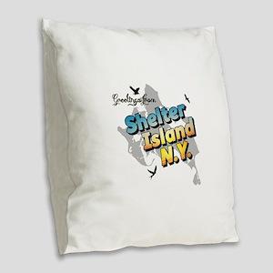 Shelter Island New York NY Lon Burlap Throw Pillow