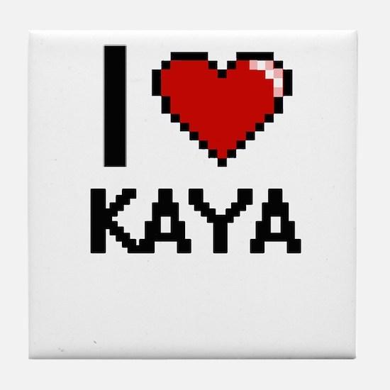 I Love Kaya Tile Coaster