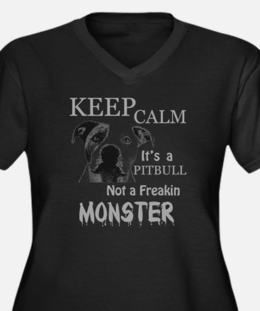 monster Women's Plus Size V-Neck Dark T-Shirt