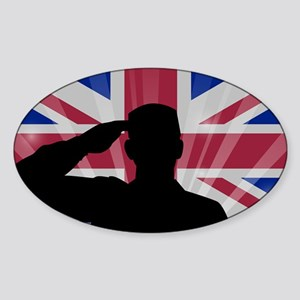 Military Salute On England Flag Sticker